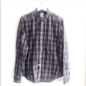Brooks Brothers Slim Plaid Tab Collar Pocket Shirt